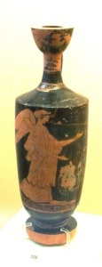14 12905 Attic red LEKYTHOS VASE FROM RHODES (second quarter of the fifth century. BC) height: 0.275 m, diameter of the lip: 0.05, diameter of the base: 0.065 m