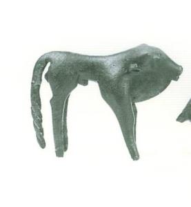 58 B 1760 BRONZE FIGURINE OF BULL Height: 13.6 cm