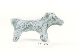 67 T 845D CLAY HORSE Length: 11.1 cm Height: 6.4 cm