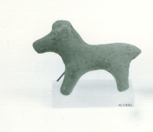 73 P 2931 INCOMPLETE TERRACOTTA FIGURINE OF ARIES Length = 10.5 cm height: 7.4 cm