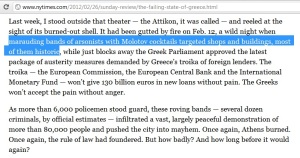 The New York Times' Rachel Donadio said that 'most' buildings destroyed in Athens on 12th February 2012 were 'historic'.