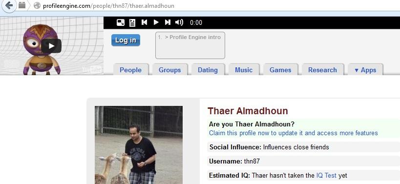'Username: thn87. Estimated IQ: Thaer hasn't taken the IQ test yet.' (thn87, profileengine, 21st October 2013)