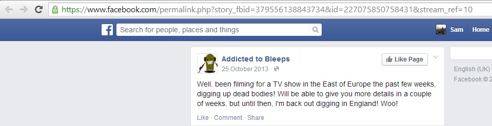 'been filming for a TV show in the East of Europe the past few weeks, digging up dead bodies!' (c) Kris Rodgers, 25th October 2013