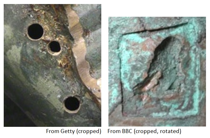 A comparison of the hole in the Gaza 'Apollo' (right) with the holes in the Pompeii Apollo Saettante (left).