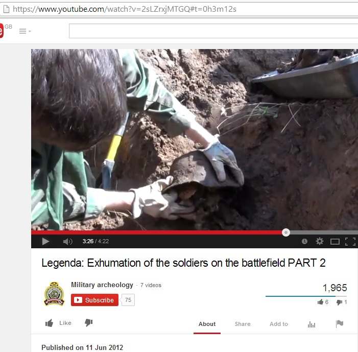 Exhumation of the soldiers on the battlefield<br />(c) Military Archaeology, YouTube, 11th June 2012