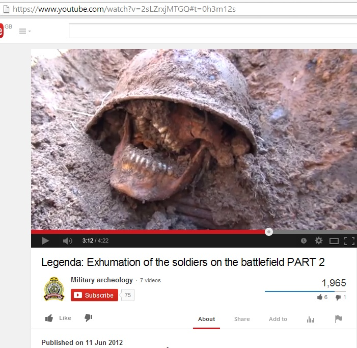 Exhumation of the soldiers on the battlefield (c) Military Archaeology, YouTube, 11th June 2012