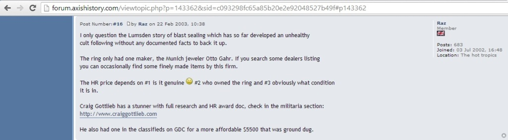 'He also had one in the classifieds on GDC for a more affordable $5500 that was ground dug' (c) Raz, 22nd February 2003