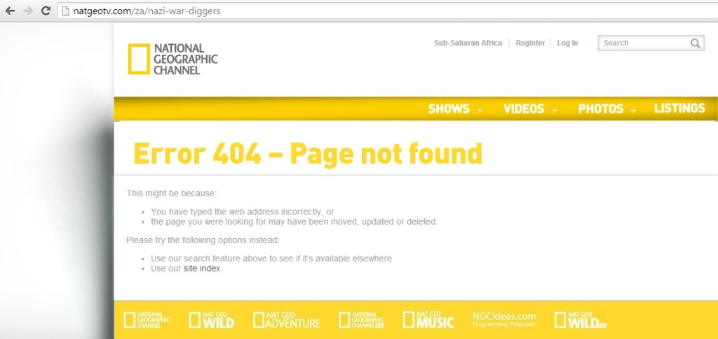 Nazi War Diggers? Error 404 - page not found.