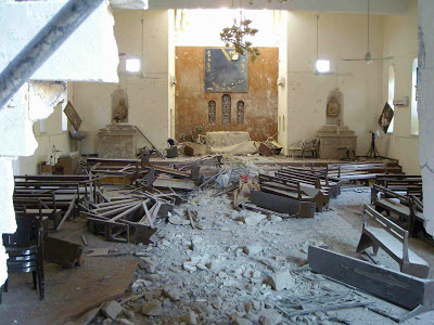 Mar Afrem's Chaldean Church in Mosul got bombarded (c) Fr. Felix Shabi, Kaldaya, 27th November 2009