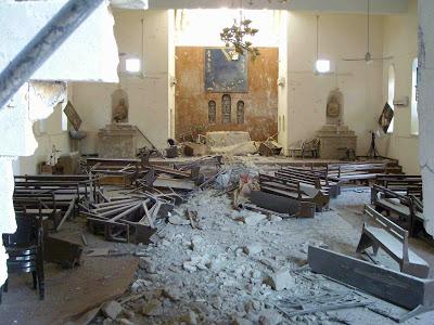 Mar Afrem's Chaldean Church in Mosul got bombarded (c) Fr. Felix Shabi, Kaldaya, 27th November 2009