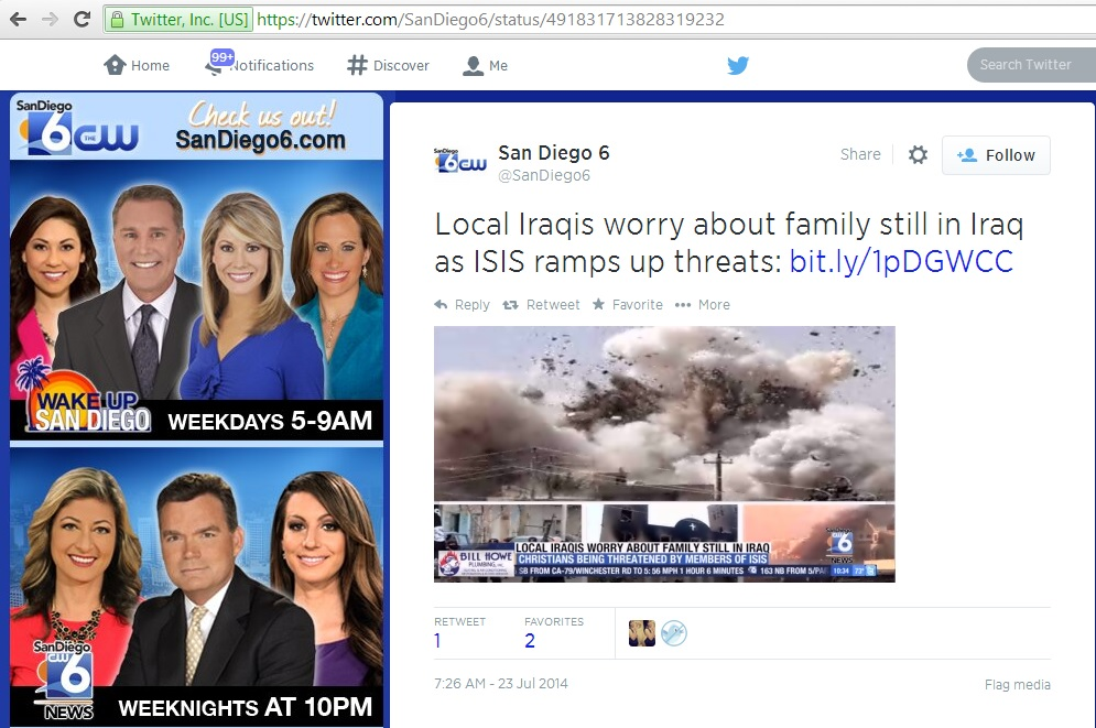 'Local Iraqis worry about family still in Iraq as ISIS ramps up threats' (c) San Diego 6 @SanDiego6, Twitter, 23rd July 2014