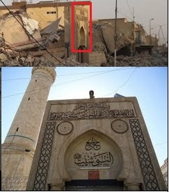 As AhlulBayt News Agency (ABNA) show, and as I highlight here, some of the standing remains correspond with pre-conflict photos of the site and reaffirm that the destroyed building is the Shrine-Mosque of Seth/Sheet.