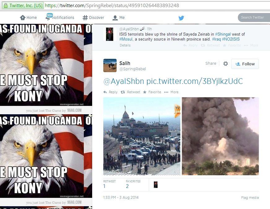 (c) Salih, Twitter, 1.33pm GMT, 3rd August 2014