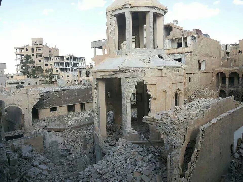 'The first photos of Armenian Genocide Memorial Church in Der Zor blown up by ISIS emerged on Sept. 24.' (c) Armenian Weekly, 24th September 2014
