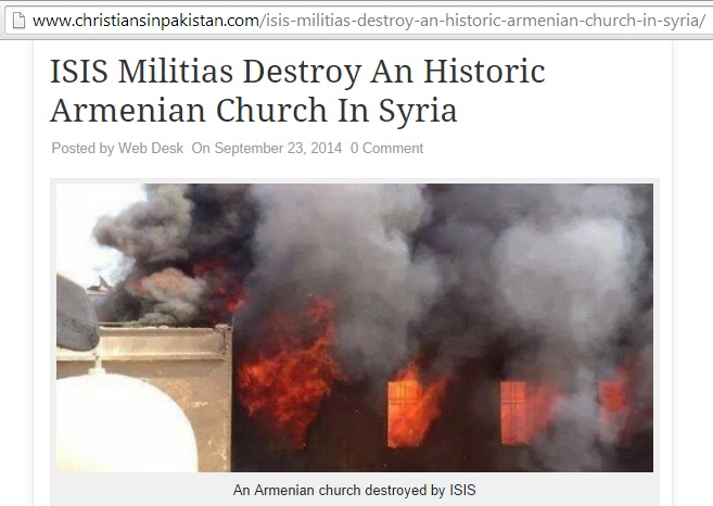False evidence of an 'Armenian church destroyed by ISIS' (c) Christians in Pakistan, 23rd September 2014