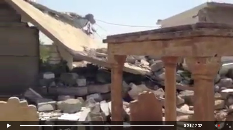 Yezidi shrine destroyed by IS terrorists. [Von den IS-Terroristen zerstörte êzîdîsche Pilgerstätte.] (c) Ezidi Press, Facebook, 31. August 2014 (d)