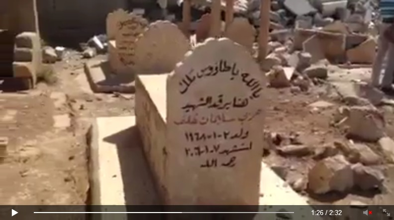 Yezidi shrine destroyed by IS terrorists. [Von den IS-Terroristen zerstörte êzîdîsche Pilgerstätte.] (c) Ezidi Press, Facebook, 31. August 2014 (h)