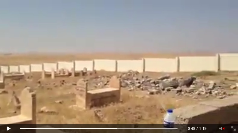 'Yezidi holy place/sacred site Quba Sheikhsin destroyed by IS terrorists. [Von IS-Terroristen zerstörte êzîdîsche Heiligenstätte Quba Sheikhsin.]' (c) Ezidi Press, Facebook, 1. September 2014 (c)