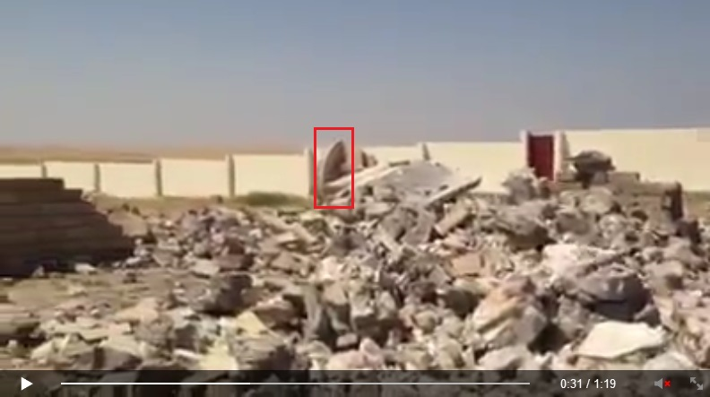 'Yezidi holy place/sacred site Quba Sheikhsin destroyed by IS terrorists. [Von IS-Terroristen zerstörte êzîdîsche Heiligenstätte Quba Sheikhsin.]'<br />(c) Ezidi Press, Facebook, 1. September 2014 (d) base