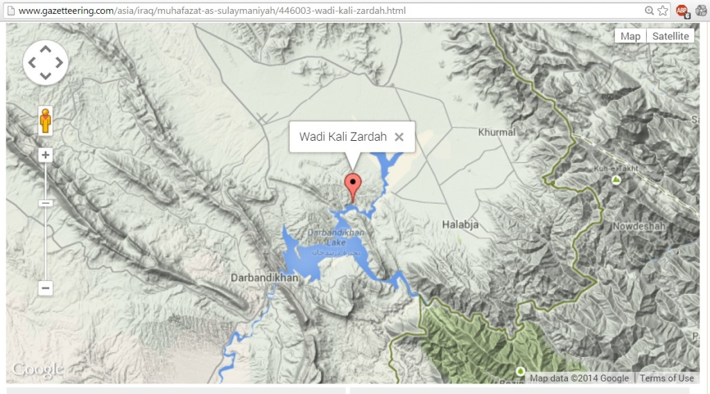 Wadi Kali Zardah, Sulaymaniyah, Iraq on Google Maps via Gazzetteering