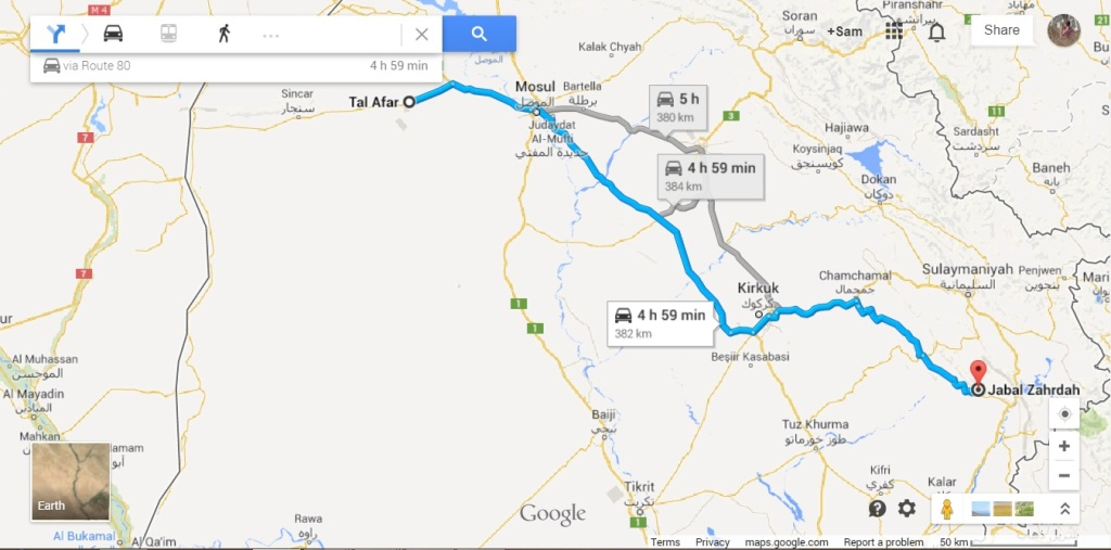 distance between Tal Afar and Zardah on Google Maps