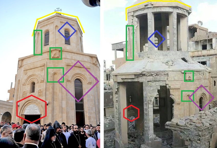 A comparison of features in before and after photos of the Armenian Genocide Memorial Church in Deir ez-Zor.