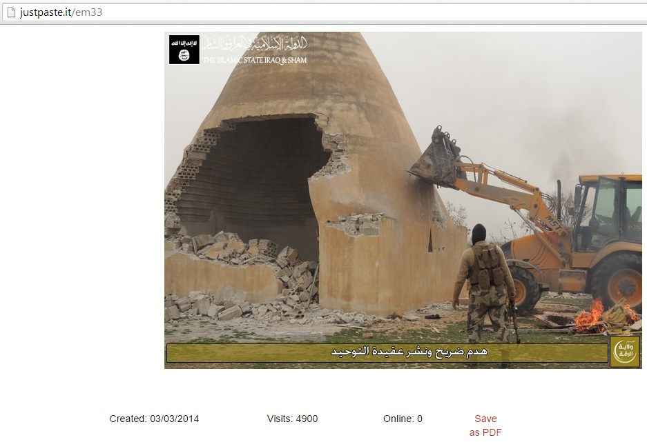advertisement of destruction of Tomb of Abouleish, Raqqa, Syria (c) the Islamic State, 3rd March 2014
