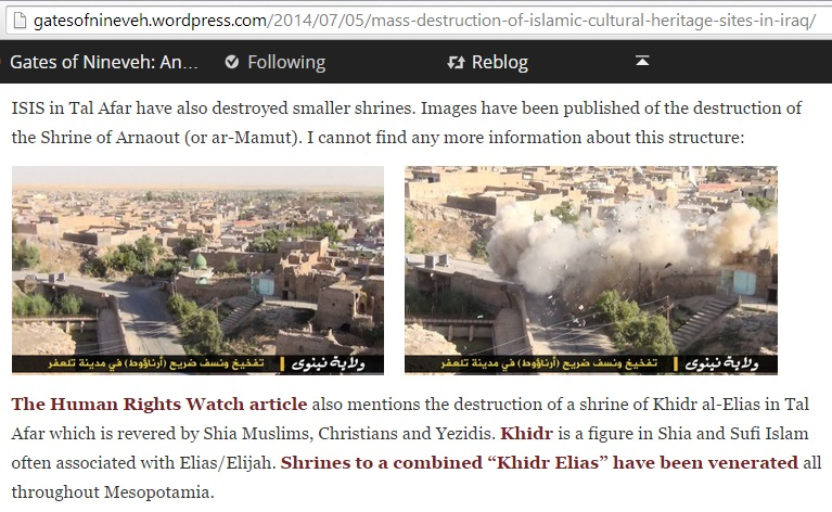 'ISIS in Tal Afar have also destroyed smaller shrines. Images have been published of the destruction of the Shrine of Arnaout (or ar-Mamut).' (c) Christopher Jones, the Gates of Nineveh, 5th July 2014