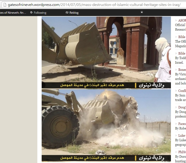 Christopher Jones's (5th July 2014) corroboration of the Islamic State's destruction of the Tomb of the Girl