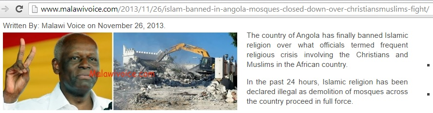 False evidence of mosque destruction in Angola (c) Malawi Voice, 26th November 2013