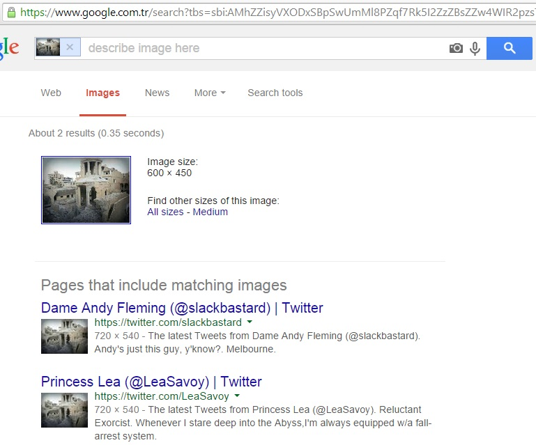 Google search results for filtered image @Zinvor, 24th September 2014