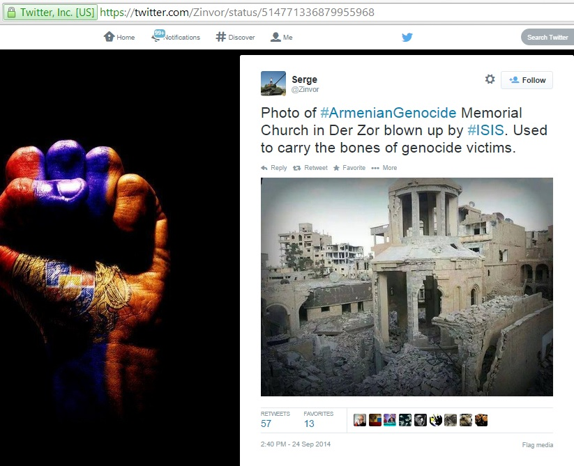 'Photo of #ArmenianGenocide Memorial Church in Der Zor blown up by #ISIS. Used to carry the bones of genocide victims.' (c) Serge @Zinvor, Twitter, 24th September 2014