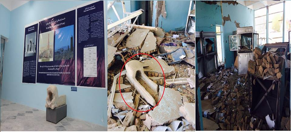 Figure 5: Before and after the attack at Museums of Islamic and Pre-Islamic Art in Ghazni (c) Ajmal Yar, 6th September 2014
