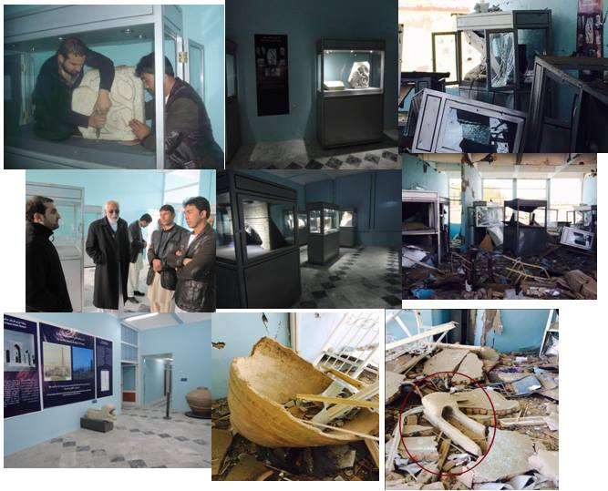 Figure 8: Before and after the attack at Museums of Islamic and Pre-Islamic Art in Ghazni (c) Ajmal Yar, 10th September 2014