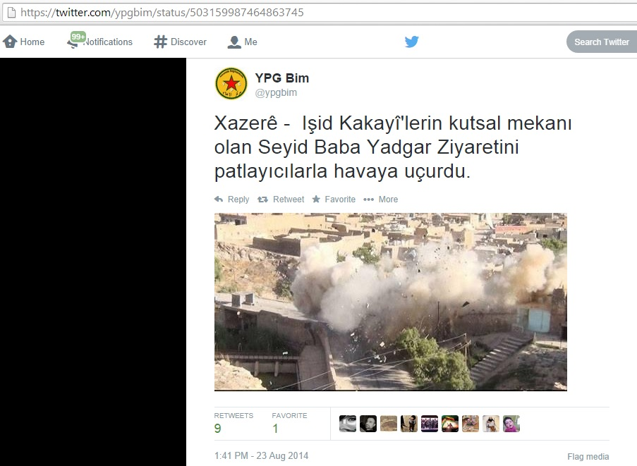 ISIS blew up the holy pilgrimage site/shrine of Mohammed's descendant Baba Yadgar. [Xazerê -  Işid Kakayî'lerin kutsal mekanı olan Seyid Baba Yadgar Ziyaretini patlayıcılarla havaya uçurdu.] (c) YPG Bim, 23rd August 2014