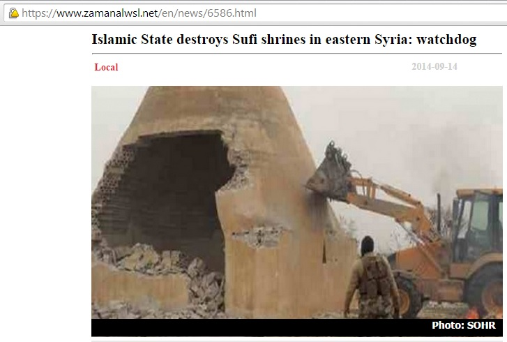 Islamic State destroys Sufi shrines in eastern Syria: watchdog (c) Syrian Observatory for Human Rights, Zaman Al Wsl, 14th September 2014