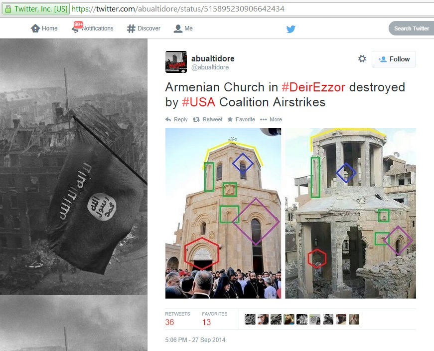 'Armenian Church in #DeirEzzor destroyed by #USA Coalition Airstrikes' (c) abualtidore, Twitter, 5.06pm, 27th September 2014
