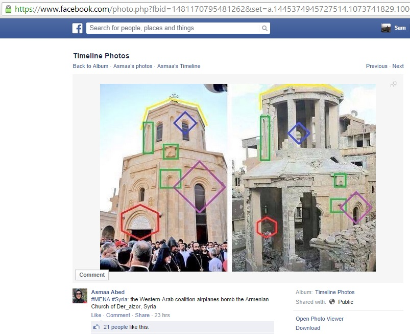 '#MENA #Syria: the Western-Arab coalition airplanes bomb the Armenian Church of Der_alzor, Syria' (c) Asmaa Abed, Facebook, 4.27pm, 29th September 2014