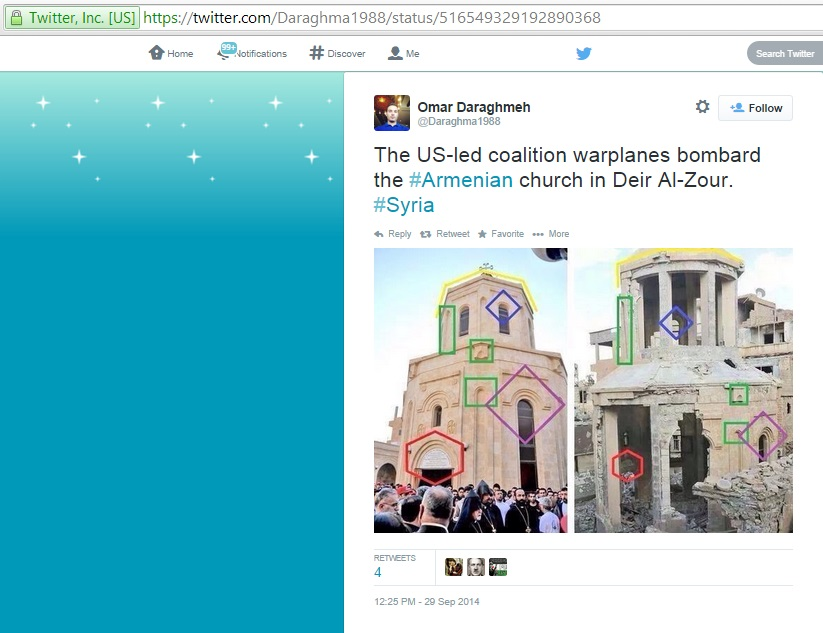 'The US-led coalition warplanes bombard the #Armenian church in Deir Al-Zour. #Syria' (c) Omar Daraghmeh, Twitter, 12.25pm, 29th September 2014