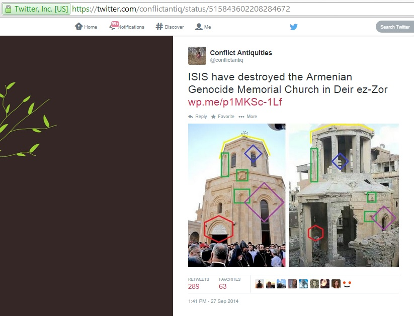 'ISIS have destroyed the Armenian Genocide Memorial Church in Deir ez-Zor' (c) Sam Hardy, Twitter, 1.41pm, 27th September 2014