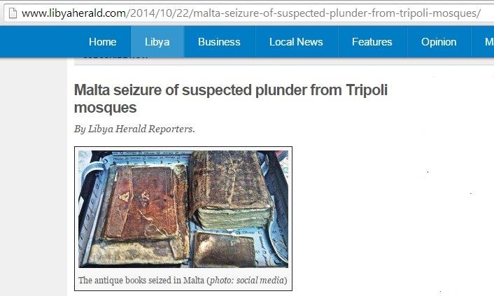 Qurans, Libya Herald, 22nd October 2014