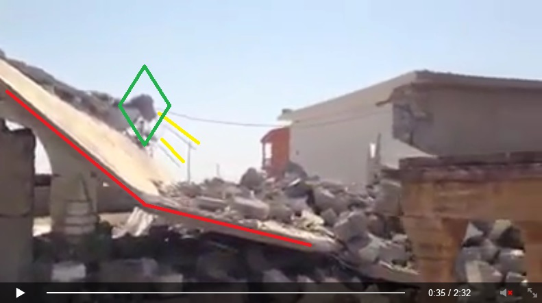 Exposed concrete and rebar of the Yezidi Temple of Sheikh Mikhfiya (c) Êzidî Press, 31st August 2014 (00h00m35s)