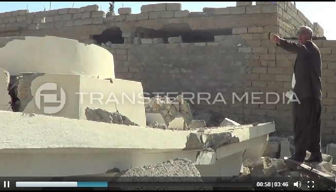 Cone base of the Yezidi Temple of Sheikh Sin (c) rsoufi, Transterra Media, 16th November 2014 (00h00m58s)
