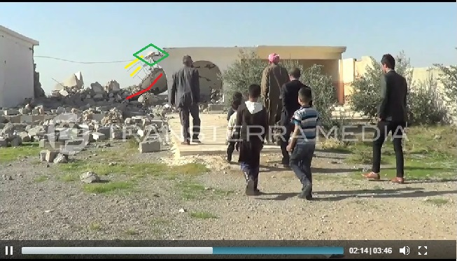 Exposed concrete and rebar of the Yezidi Temple of Sheikh Mikhfiya (c) rsoufi, Transterra Media, 16th November 2014 (00h02m14s)