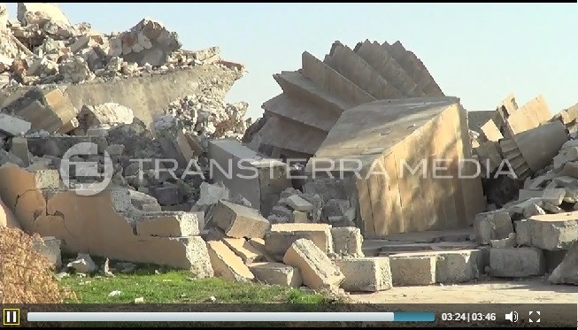Overthrown cone of the Yezidi Temple of Sheikh Mikhfiya (c) rsoufi, Transterra Media, 16th November 2014 (00h03m24s)