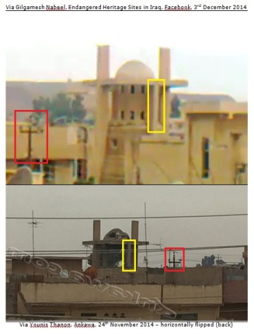 Comparison of frame of video via Gilgamesh Nabeel (3rd December 2014) on Facebook (29th November 2014) and (flipped) photo by Younis Thanon on Ankawa (24th November 2014)