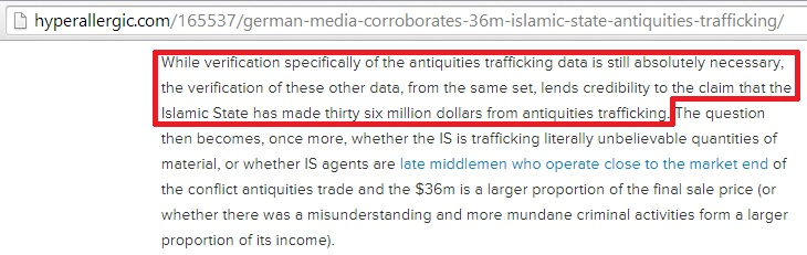'verification specifically of the antiquities trafficking data is still absolutely necessary' (Sam Hardy, Hyperallergic, 28th November 2014)