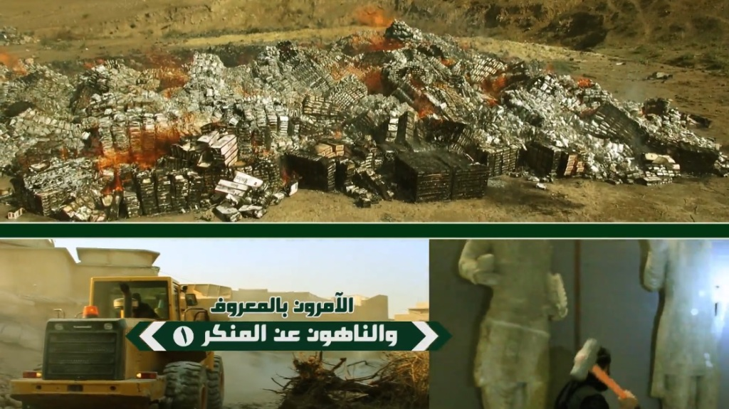 Destruction of artefacts and reproductions in Mosul Museum by Islamic State (MediaFire, 00h00m18s, 26th February 2015)