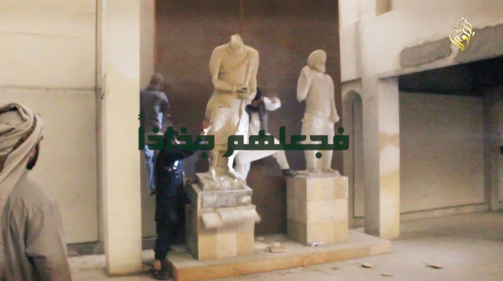 Destruction of artefacts and reproductions in Mosul Museum by Islamic State (MediaFire, 00h02m39s, 26th February 2015)