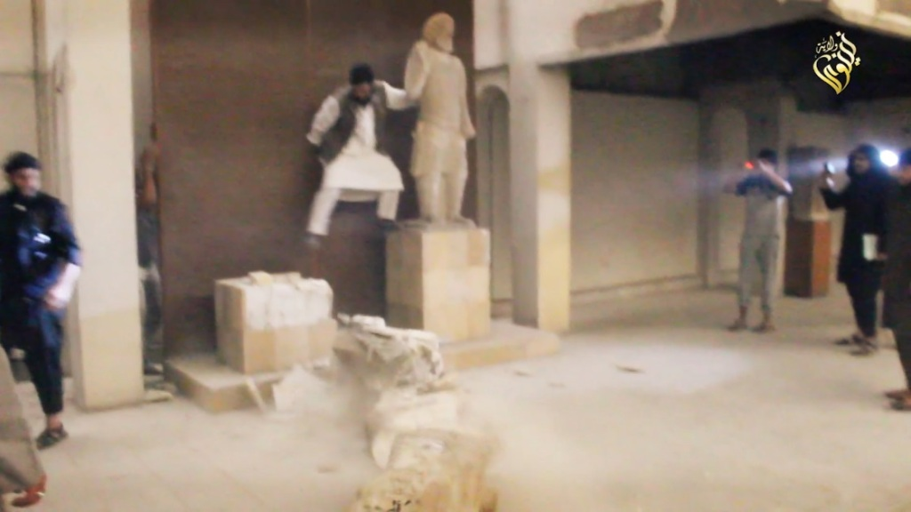 Destruction of artefacts and reproductions in Mosul Museum by Islamic State (MediaFire, 00h02m45s, 26th February 2015)